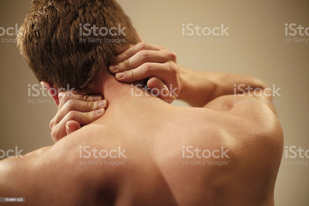 man with neck pain royalty-free stock photo