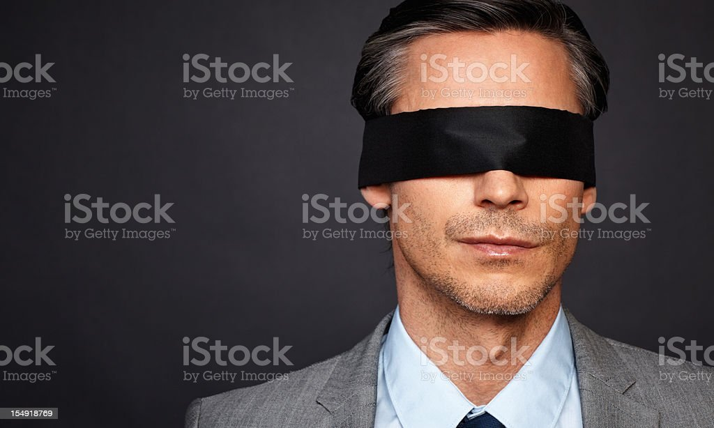 Man with no vision stock photo