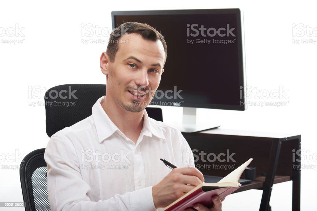 Man with note book royalty-free stock photo