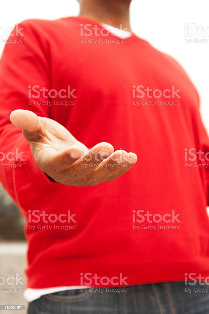 Man with open hand royalty-free stock photo