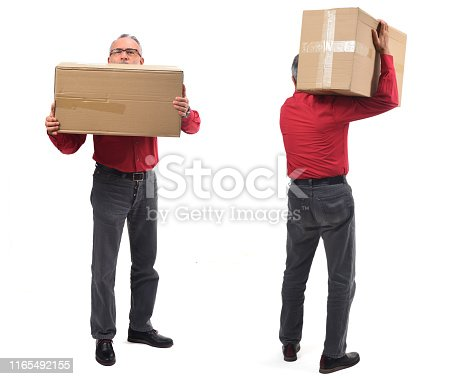 man with package front and back on white background