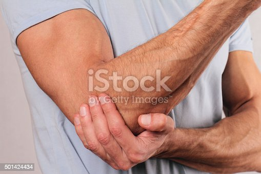istock Man With Pain In Elbow. Pain relief concept 501424434