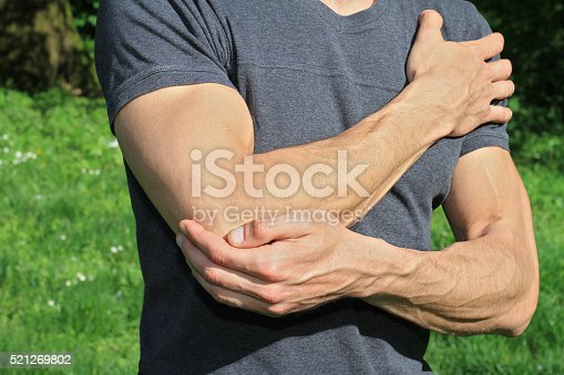 istock Man With Pain In Elbow. Pain relief concept 521269802