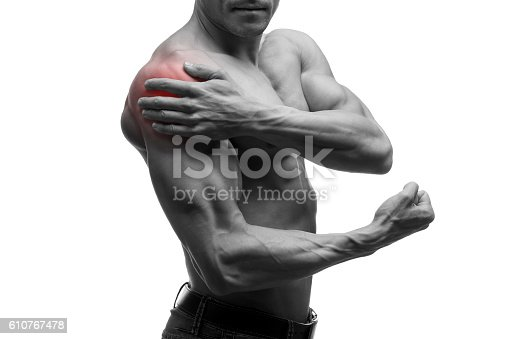 578088054istockphoto Man with pain in shoulder, ache in male body, isolated 610767478