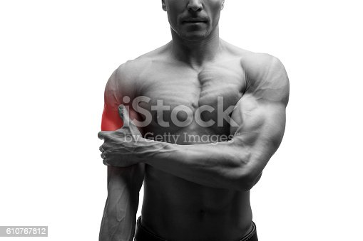 578088054istockphoto Man with pain in shoulder, ache in male body, isolated 610767812