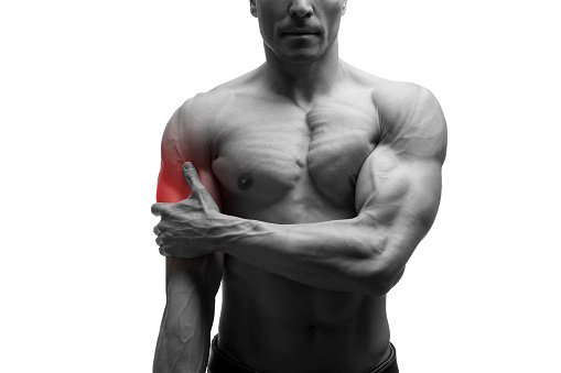 istock Man with pain in shoulder, ache in male body, isolated 610767812