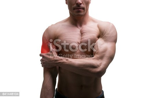istock Man with pain in shoulder, ache in muscular male body 641448104