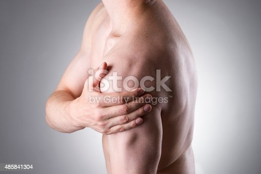 istock Man with pain in shoulder. Pain in the human body 485841304