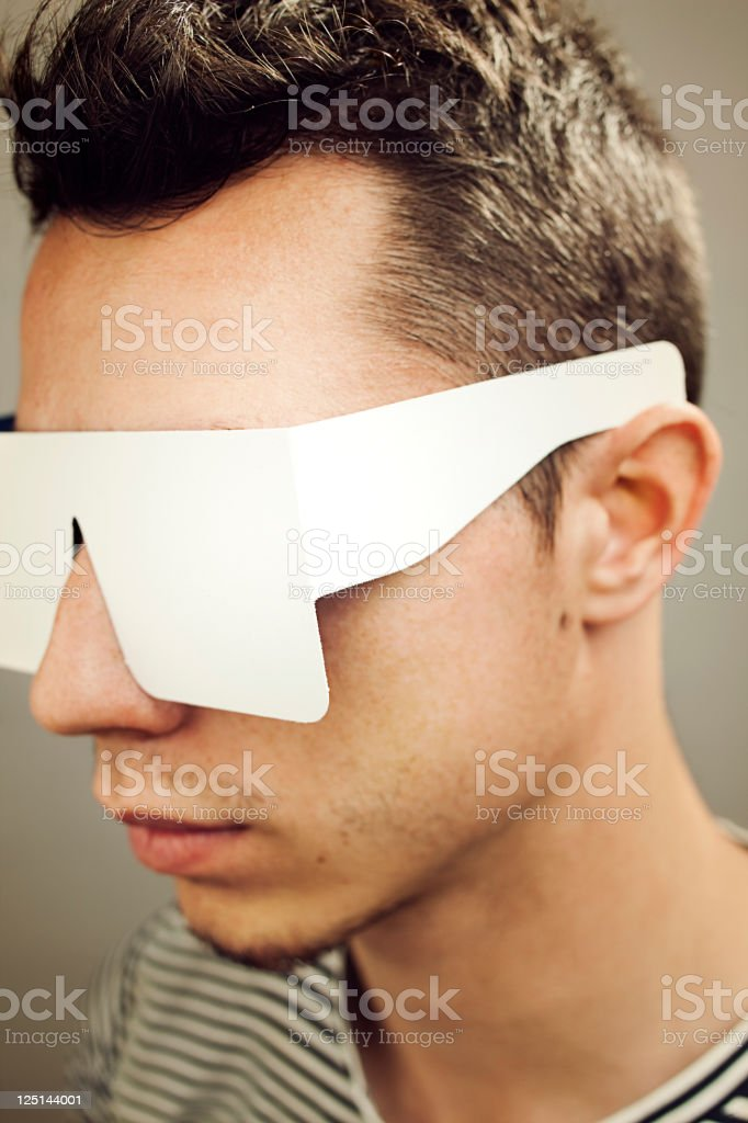 Man with paper sunglasses royalty-free stock photo