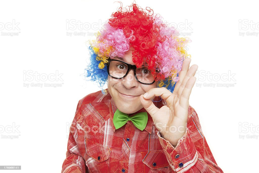Man with party wig royalty-free stock photo