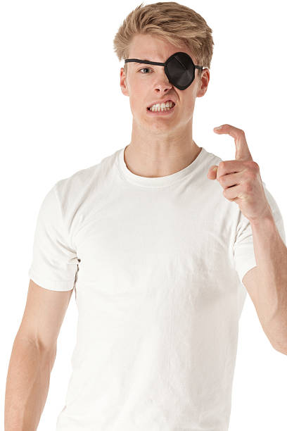 Man with patch on his eye holding finger like hook Man with patch on his eye holding finger like hookhttp://www.twodozendesign.info/i/1.png costume eye patch stock pictures, royalty-free photos & images