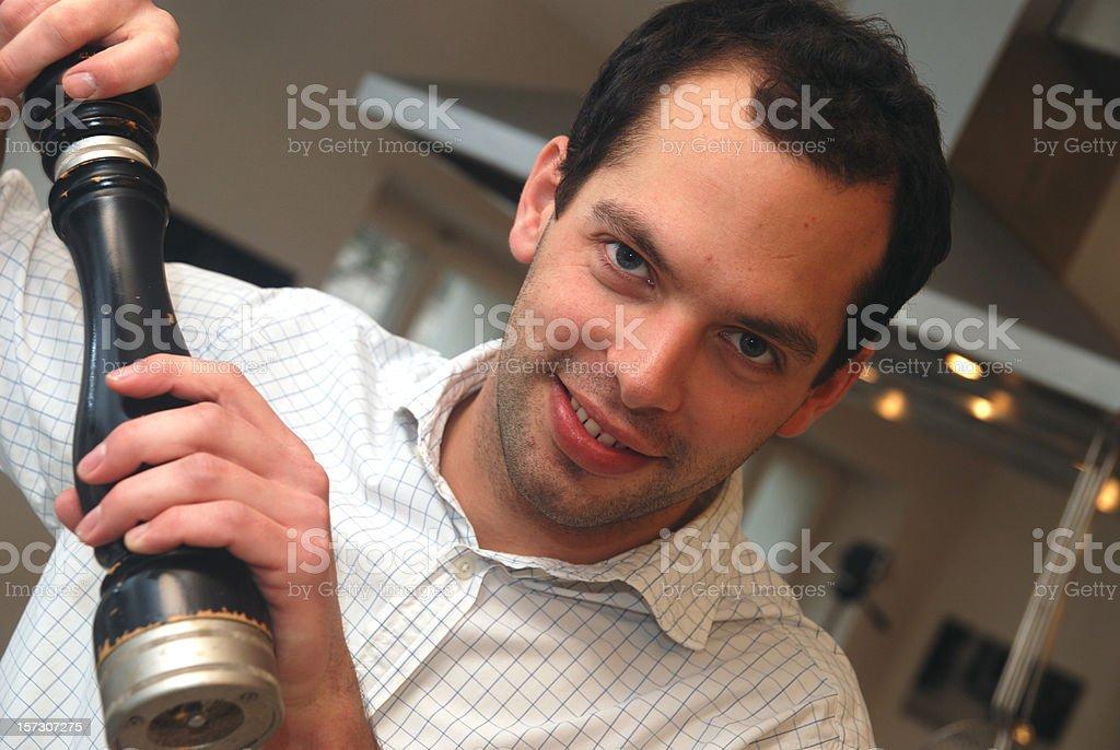 man with pepper mill - Pfeffermühle und Koch stock photo
