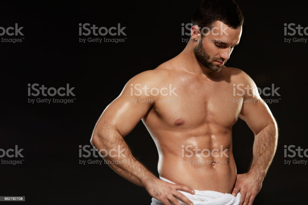 Man With Perfect Fit Abs And Muscular Body Bodybuilding Stock Photo