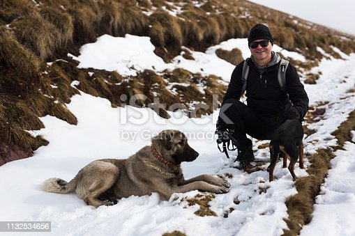 istock Man with pets on mountain 1132534656