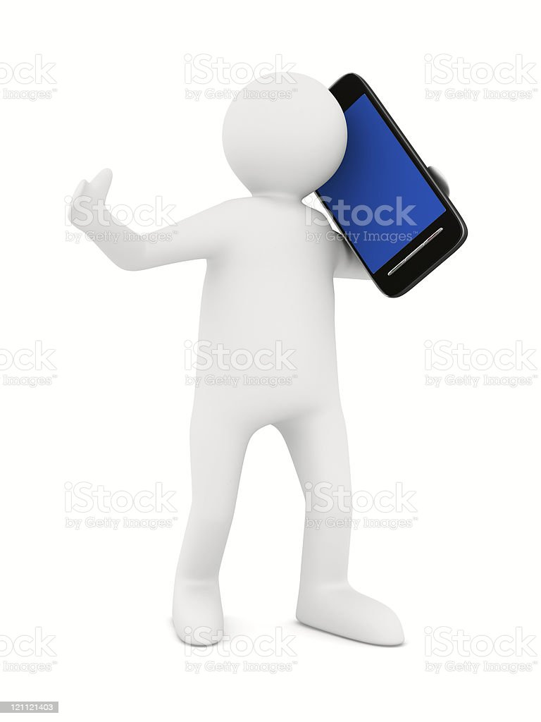 man with phone on white. Isolated 3D image royalty-free stock photo
