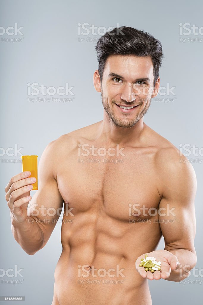 Man with pills royalty-free stock photo