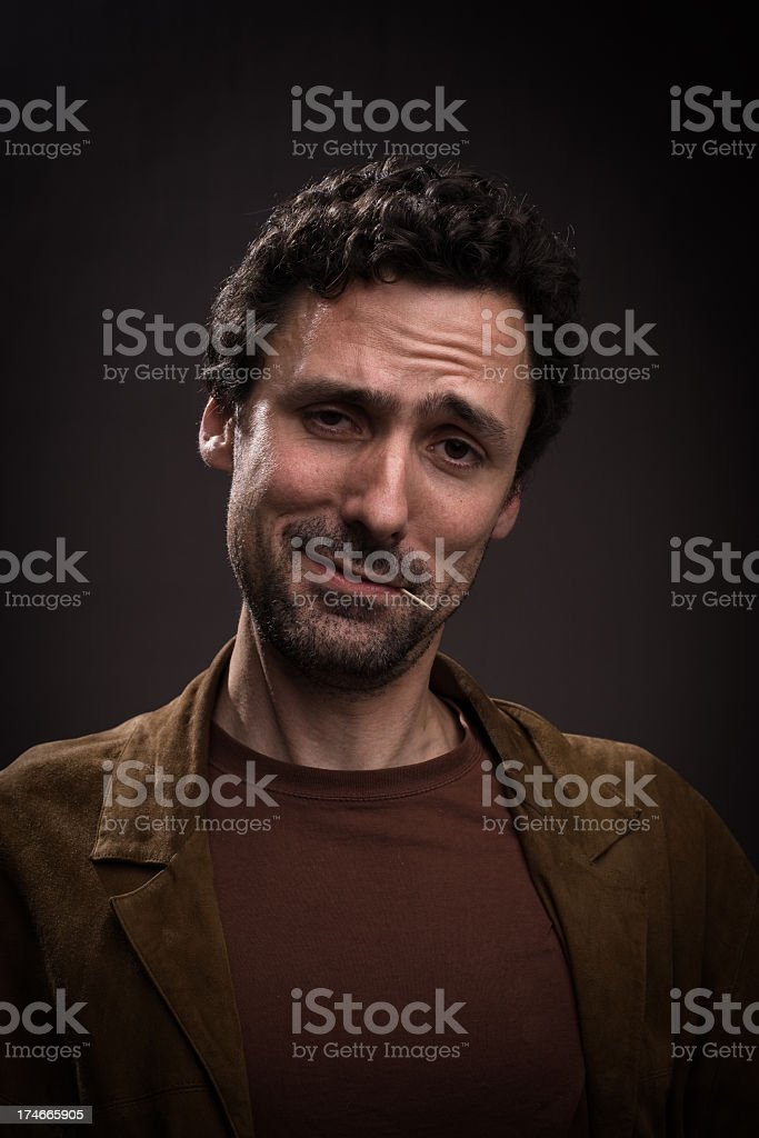 Man with pompos face royalty-free stock photo