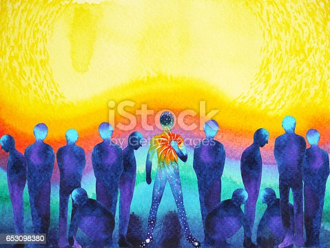 istock man with positive power and universe light watercolor painting abstract art 653098380