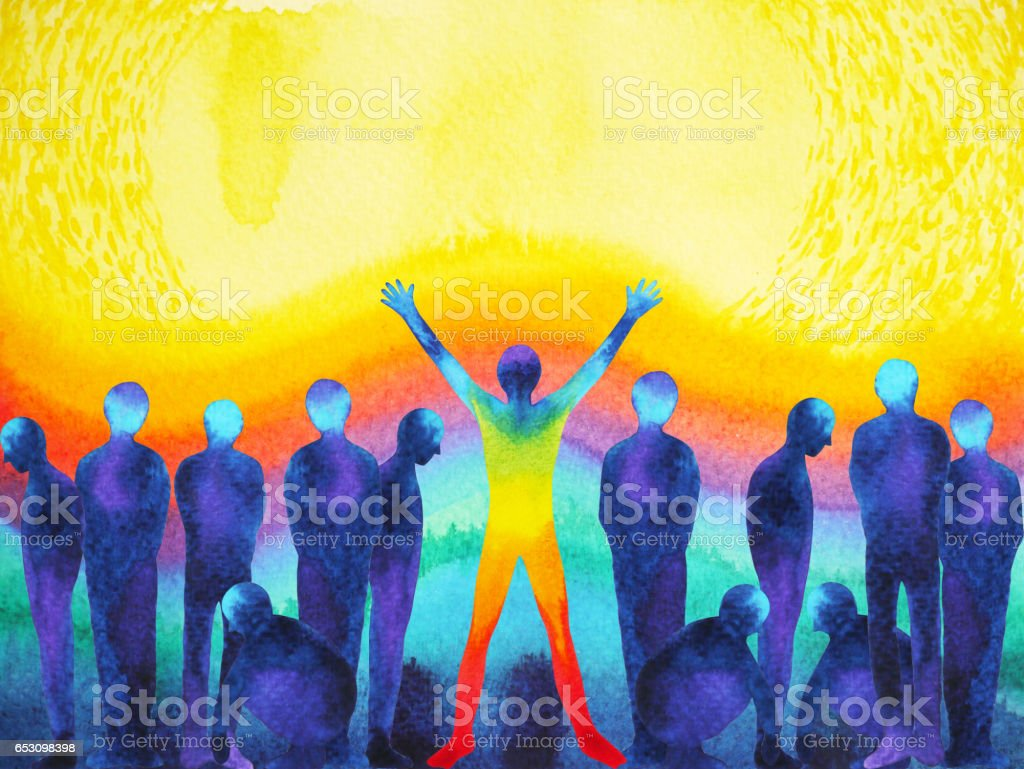 man with positive power and universe light watercolor painting abstract art stock photo