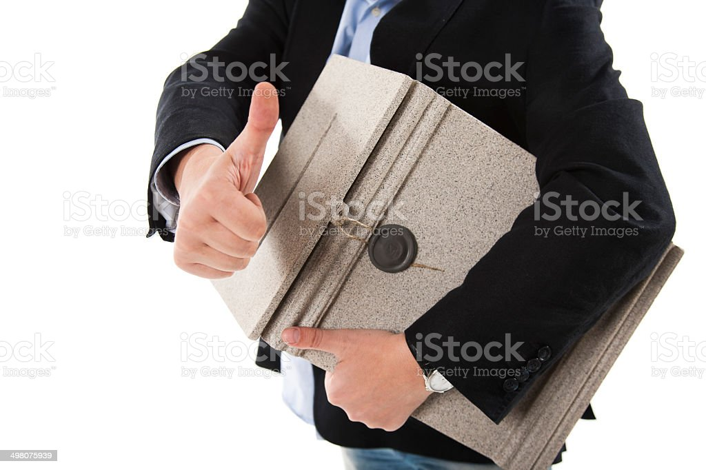 Man with postbox showing thumbs up gesture stock photo