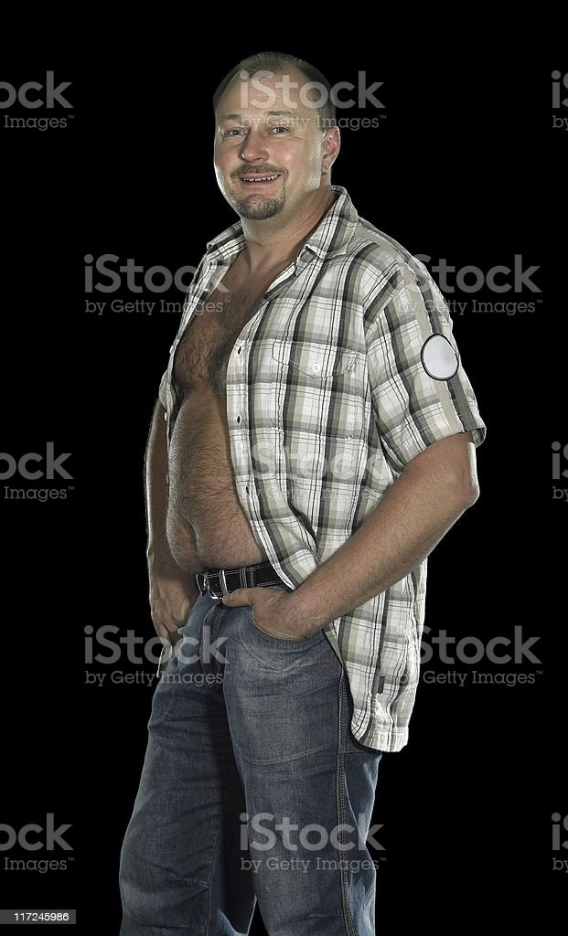man with potbelly royalty-free stock photo