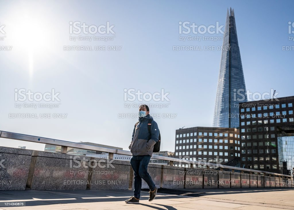 Man With Protective Face Mask On London Bridge Stock Photo Download Image Now Istock