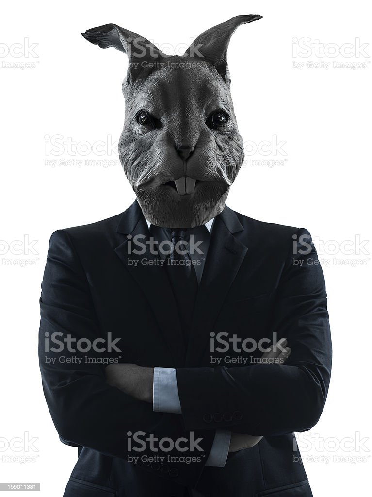 man with rabbit mask silhouette portrait stock photo