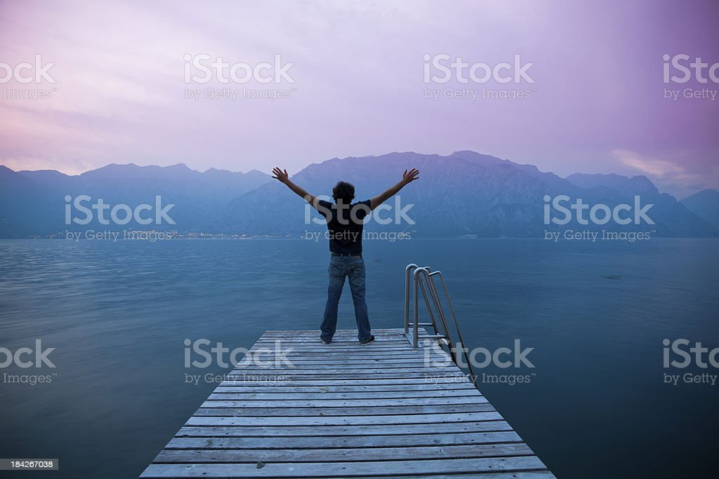 Man with Raised Arms, Freedom Concept royalty-free stock photo