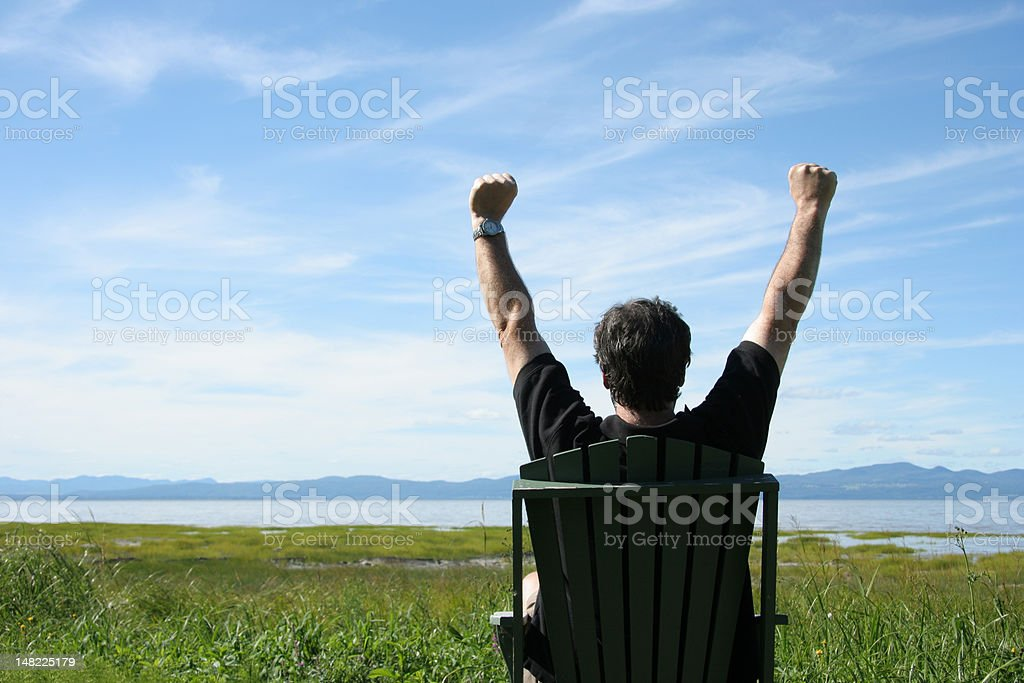 Man with raised hands . royalty-free stock photo
