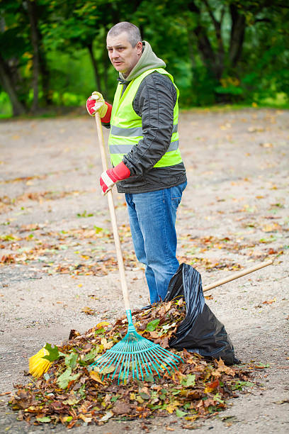 Man with rake Man with rake collects leaves in autumn street sweeper stock pictures, royalty-free photos & images