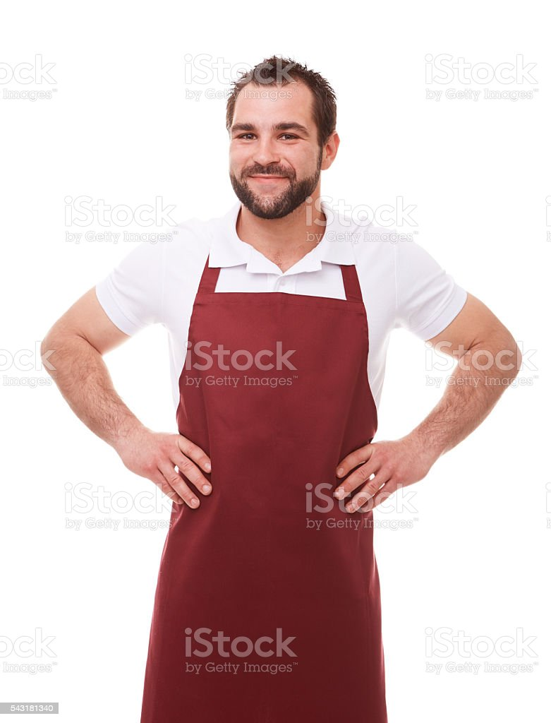 Man with red apron stock photo