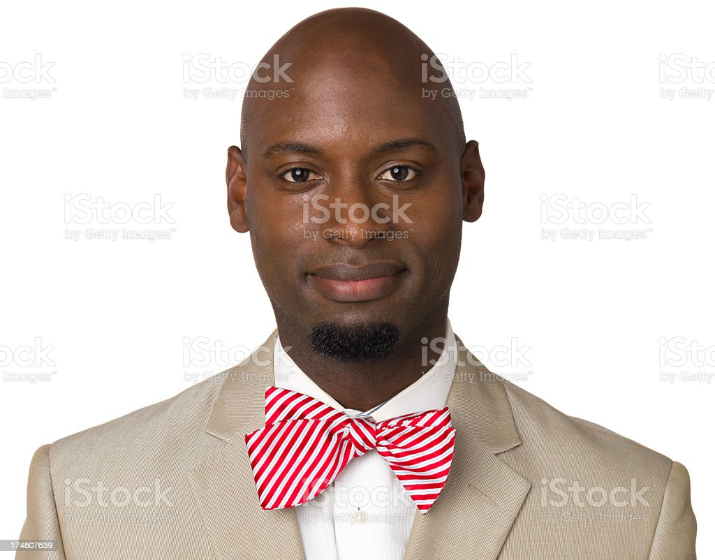 Man With Red Bowtie, Close Up Portrait royalty-free stock photo