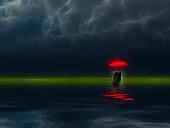 istock Man with red unbrella 1292631177