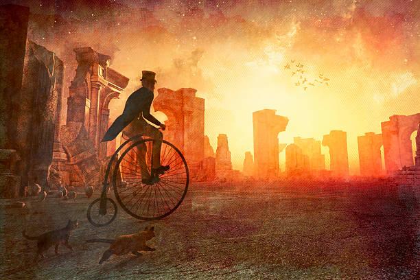 mann mit retro fahrrad fahren, vorbei an alten ruinen - märchenillustrationen stock-fotos und bilder