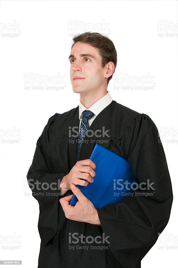 man with robe and blue pad on white stock photo