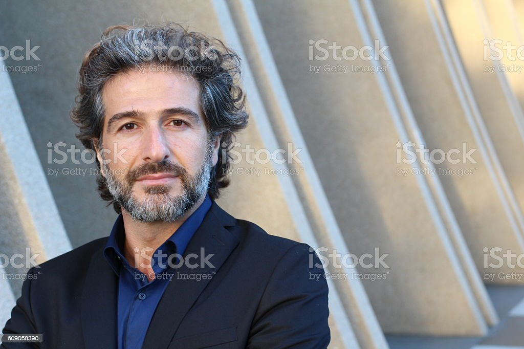 Man with salt and pepper hair stock photo