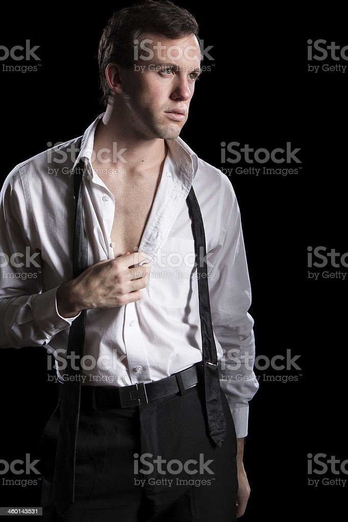 Man with Shirt Open stock photo