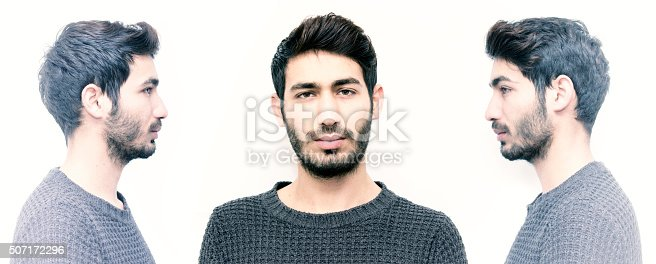 istock Man with side and front view in three poses 507172296
