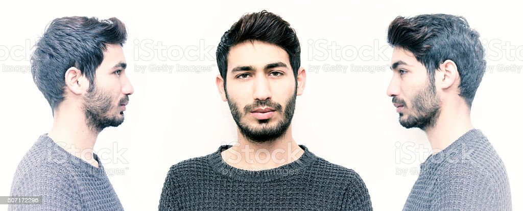 Man with side and front view in three poses stock photo