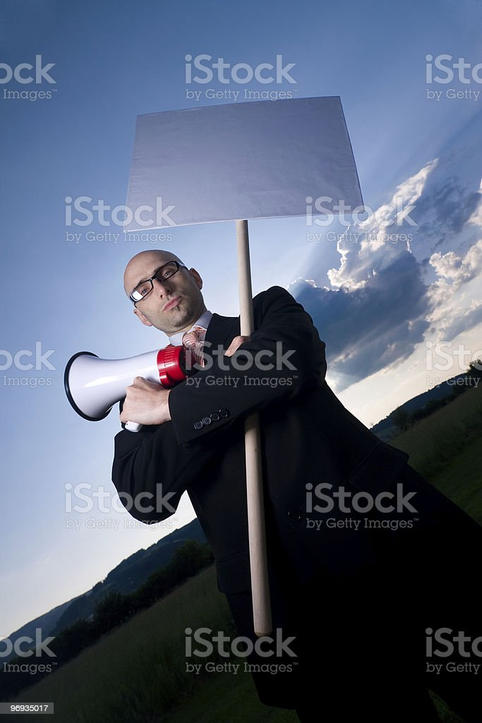 Man with sign royalty-free stock photo