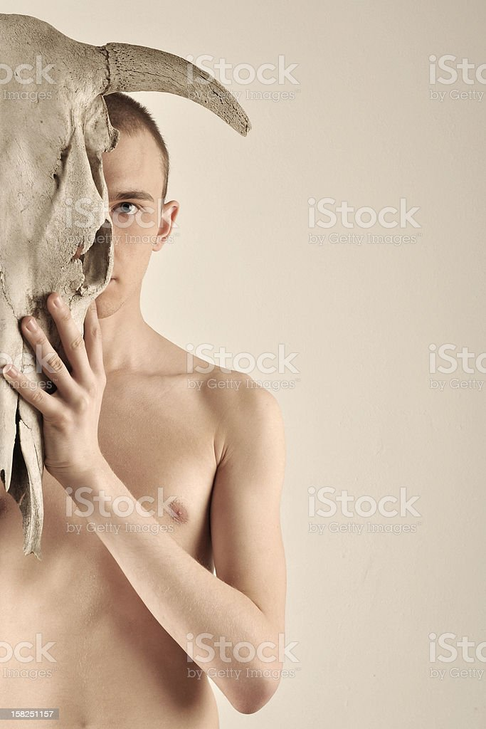 man with skull royalty-free stock photo