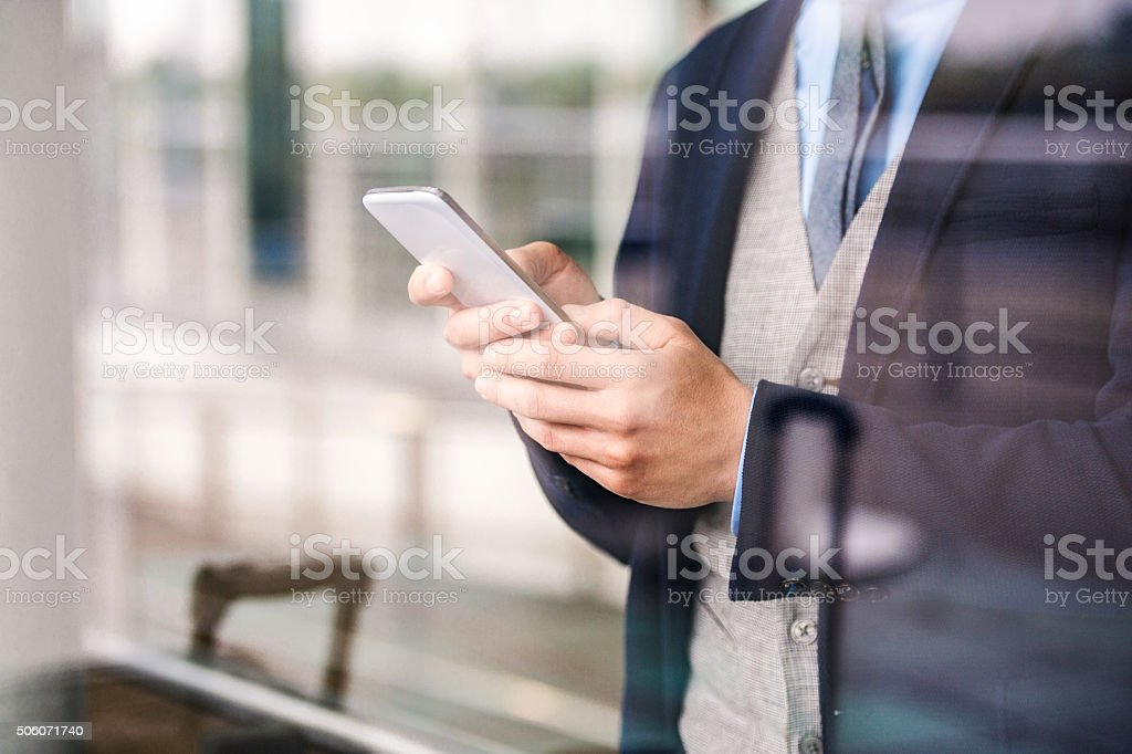 Man with smart phone stock photo