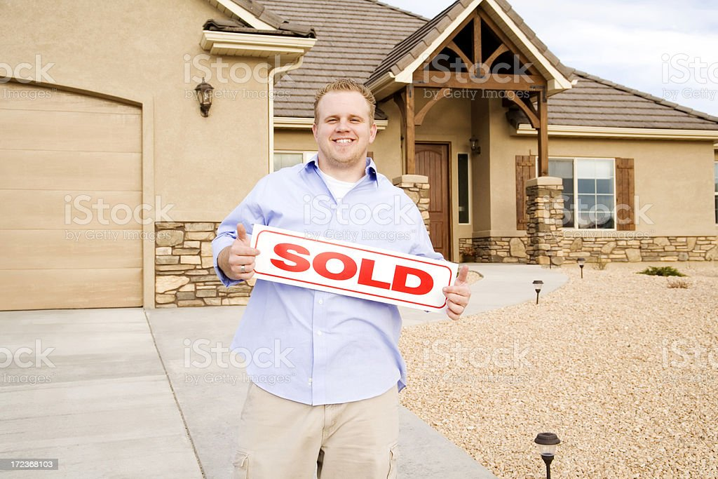 Man With Sold Home royalty-free stock photo