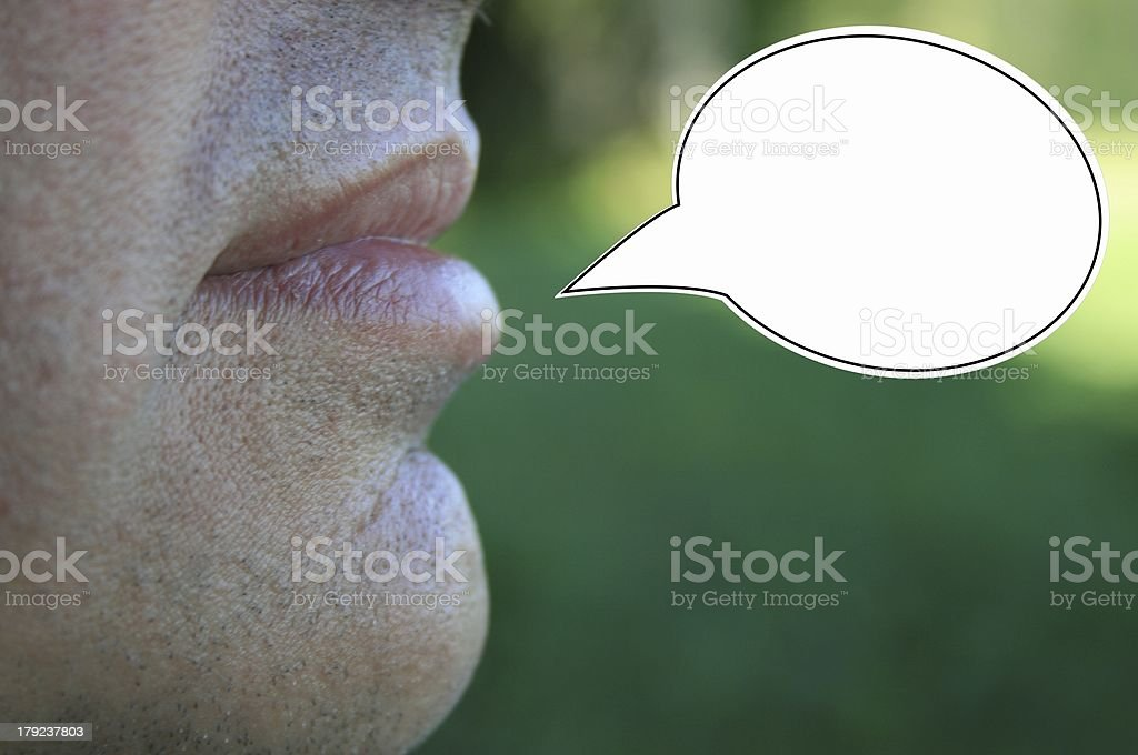 man with speech balloon man with speech balloon 45-49 Years Stock Photo