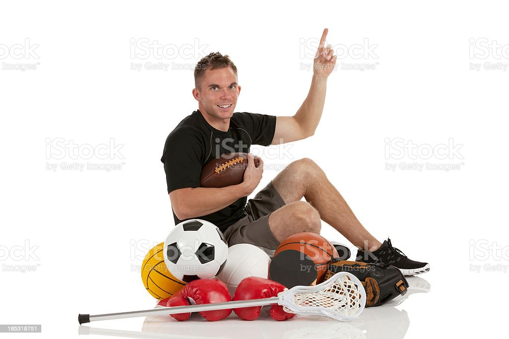 Man with sports equipments royalty-free stock photo