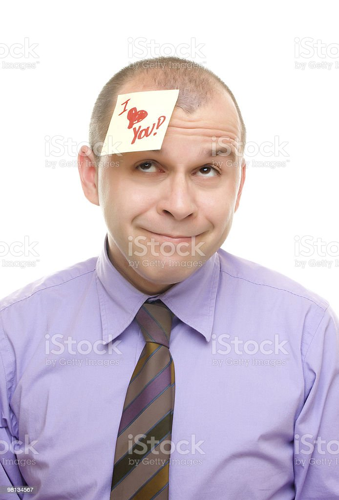 Man with sticky note royalty-free stock photo