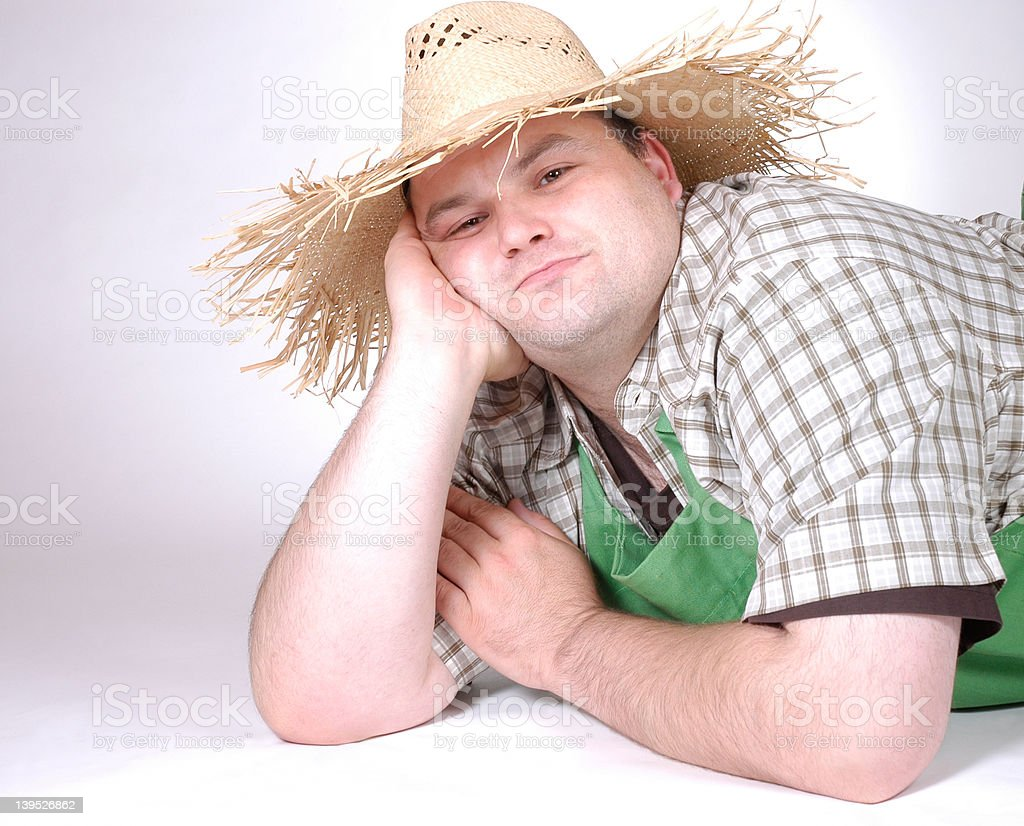 man with straw hat 2 royalty-free stock photo