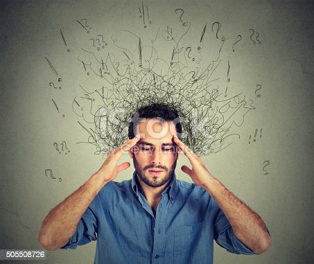 istock man with stressed face expression brain melting into lines 505508726