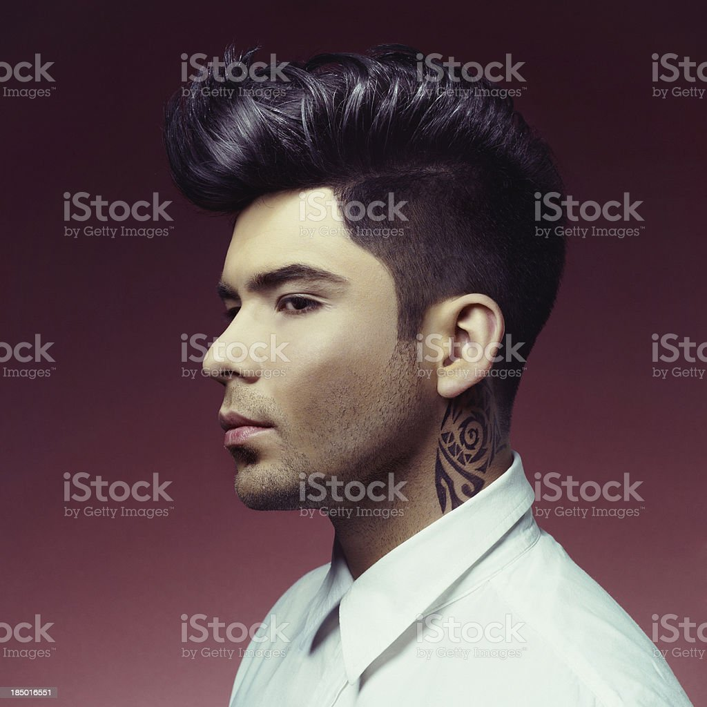 Man with stylish haircut stock photo