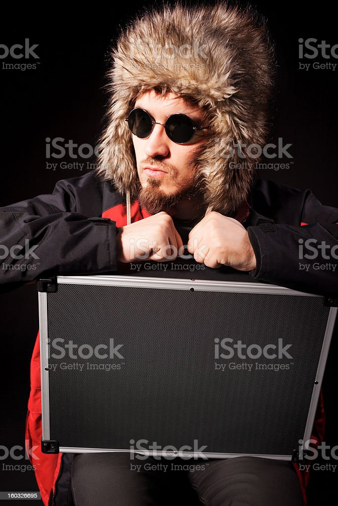 Man with suitcase royalty-free stock photo